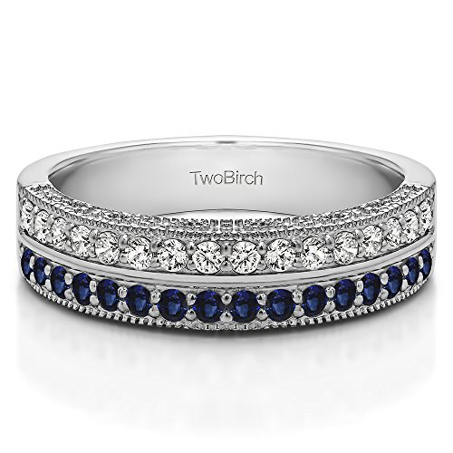 Silver Anniversary Ring Diamonds (G H,I2 I3) and Sapphire(0.48Ct)Size 3 To 15 in 1/4 Size Intervals