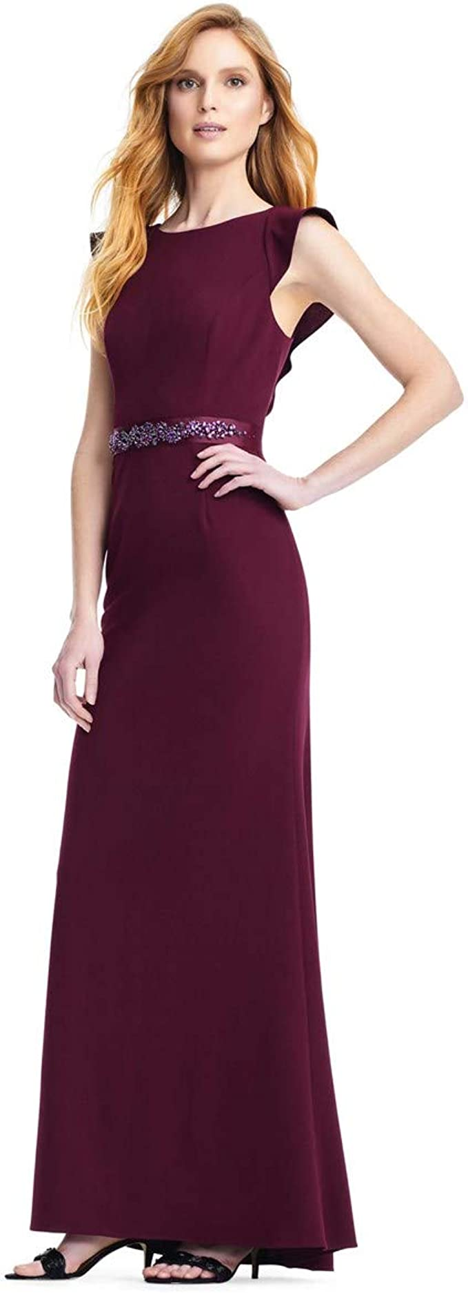 8 Adrianna Papell Sequin Lace Sleeveless Tulle Gown Black Cherry