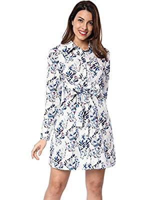 Allegra K Women's Self Tie Waist Above Knee Floral Shirt Dress