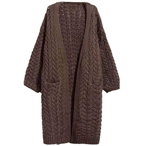 Casual Marca Autunno Monocromo Tasche Braun Mode Stile Moda Lunga Lunghi Donna Outwear Maglioni Maglia Di Anteriori Giacca Modern Confortevole Manica A qxTvOWAEn