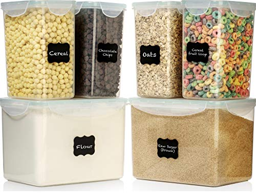 - LARGE SIZE Food Storage Containers - Sugar, Flour Plastic Containers 12 pc (set of 6) - 18 FREE Chalkboard labels & Marker - Airtight, Leakproof - BPA Free - Microwave, Freezer & Dishwasher Safe