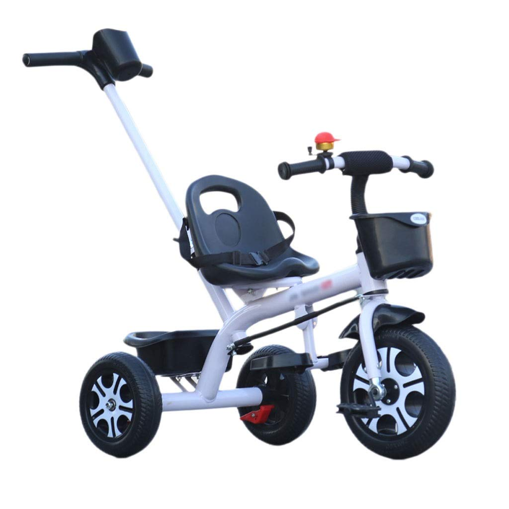 Pushchairs Prams Child Hand Push Tricycle Children's Three-Wheel Bicycle Baby Stroller Baby Carriage with Handle Baby Pushchairs Strollers (Color : White)