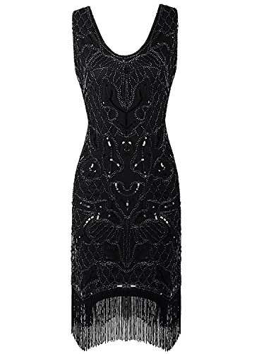 Vijiv Vintage Style Beaded Charleston Sequin Deco Fringe 1920s Flapper Dress (Homemade Gangster Woman Costume)