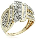14k Yellow Gold Double Row Diamond bypass Ring (2 cttw), Size 7