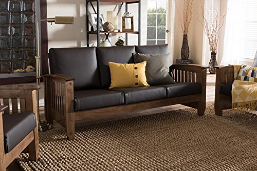 Baxton Studio Charlotte Faux Leather Sofa in Dark Brown