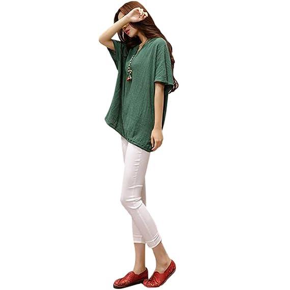 Hzjundasi Verano Mujer Cuello en V Suelto Algodón Lino Casual Blusas Manga corta Tops Camiseta de manga corta: Amazon.es: Ropa y accesorios