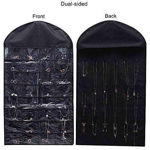 homepa Hanging Jewelry Organizer with Pockets and 18 Hook & Loops, Closet Storage for Jewelry, Makeup, Bracelets, Earrings, Hair Accessories, Necklaces