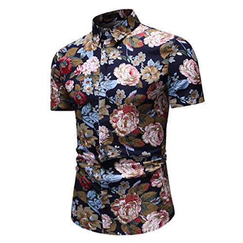 Masun Men's Fashion Hawaiian Shirts Floral Printed Beach Holiday Casual Short Sleeve Button Down Shirts Tops Blouse