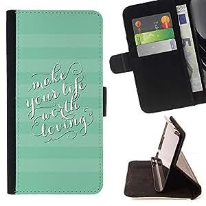 Momo Phone Case / Flip Funda de Cuero Case Cover - Líneas de rayas azul del trullo de estar texto Worth - Samsung Galaxy S5 Mini, SM-G800