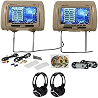 Rockville RVD951-BG 9 Beige Dual DVD/HDMI Car Headrest Monitors+2 Headphones