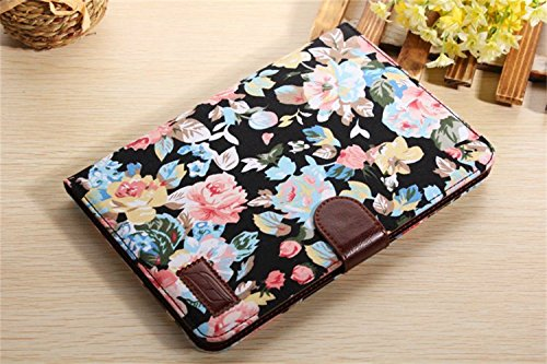 Ipad Mini Case, Ipad Mini 2/3 Borch Fashion Luxury Multi-function Protective Floral Series Light-weight Folding Flip Smart Case Cover for Apple Ipad Mini, Ipad Mini 2 & 3 (Black) De La Renta Women Mini