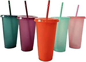 24oz Reusable Cold Drink Cups 5-pack, Travel Tumbler, Blank Cups for Vinyl Projects, Plastic Tumbler, Cups with Lids and Straw, Holiday Glitter Craft Cups