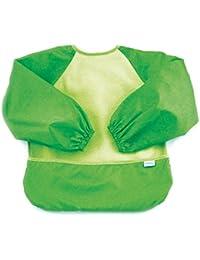 Fleece-Front Sleeved Bib / Baby Bib / Toddler Bib / Art Crafts Smock, Waterproof, Washable, 6-24 Months – Green