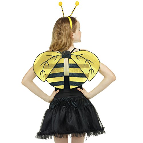 Costume Wings Bird Yellow (Girls Kids Ladybug Ladybird Bumble Bee Insect Bug Fancy Dress Costume Wings)