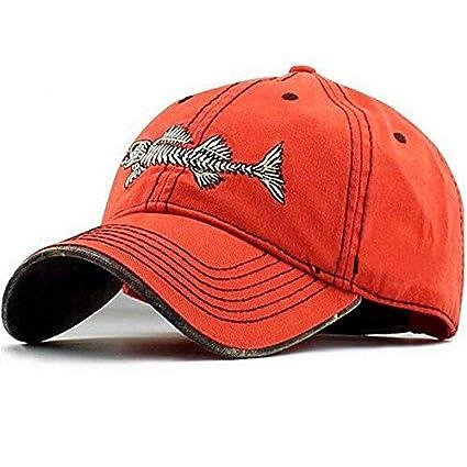 12d9f0051 AKIZON Mens Hats Baseball Cap with Fish Bones - Fishing Hat for Men, Orange  7 1/4