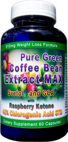 910mg Pure Green Coffee Bean Extract MAX ~ Svetol ~ GCA ~Raspberry Ketones ~ Contains up to 48% Chlorogenic Acid ~ Strongest Diet - Max Coffee Bean