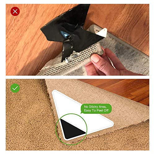 Rug Gripper,Carpet Tape,2019 Upgraded Version Anti Curling Carpet Gripper,Anti Slip Rug Pad,Instantly Stops Rug Corner Curling for Living Room//Bathroom//Carpet//Hardwood Floors 4 V shape Corners
