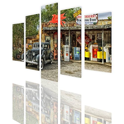 Alonline Art - Arizona Route 66 Split 5 Panels PRINT On CANVAS (100% Cotton, UNFRAMED