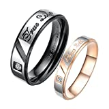 "Fate Love Mens Womens Romantic ""True Love"" Stainless Steel Couples Ring Wedding Engagement Rings Set"