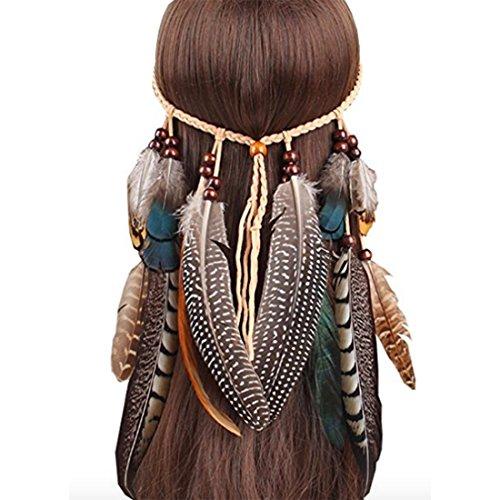 - Neal LINK Women Indian Feather Fascinator Hairband Hemp Rope Bohemian Tassels Festival (Feather Brown)