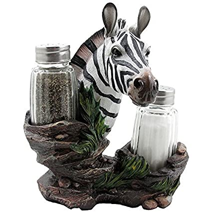 Exceptional Decorative Zebra Glass Salt And Pepper Shaker Set With Holder Figurine In  African Jungle Safari Statues Design Inspirations