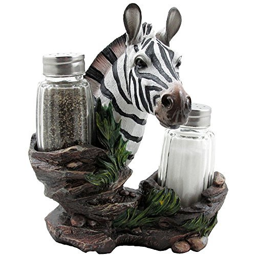Decorative Zebra Glass Salt and Pepper Shaker Set with Holder Figurine in African Jungle Safari Statues & Sculptures and Wildlife Zoo Animal Kitchen Table Decor Gifts - Safari Statue