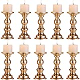 Set of 10 Gold Metal Pillar Candle Holders, Wedding Centerpieces Candlestick Holders for 80mm Candles Stand Decoration Ideal for Weddings, Special Events, Parties