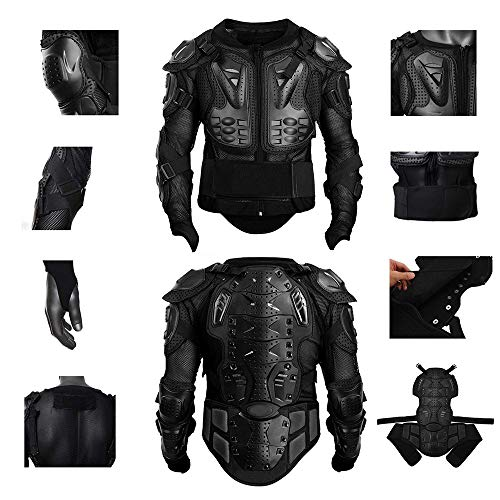 Black, M Motorcycle Full Body Armor Protective Gear Jacket Street Sport Motocross ATV Guard MTB Racing Shirt Jacket Protector Pro for Men