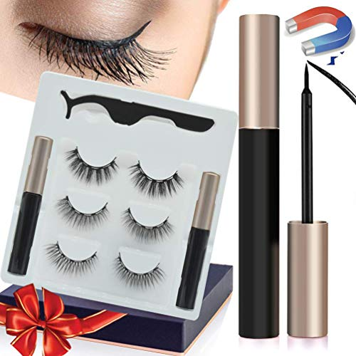 Magnetic Eyelashes, Magnetic Eyeliner and Lashes Kit with 2 Tubes Of Eyeliner, 3 Styles Magnetic Lashes, Reusable Silk False Magnetic Eyelashes, No Glue Needed, Easier To Use