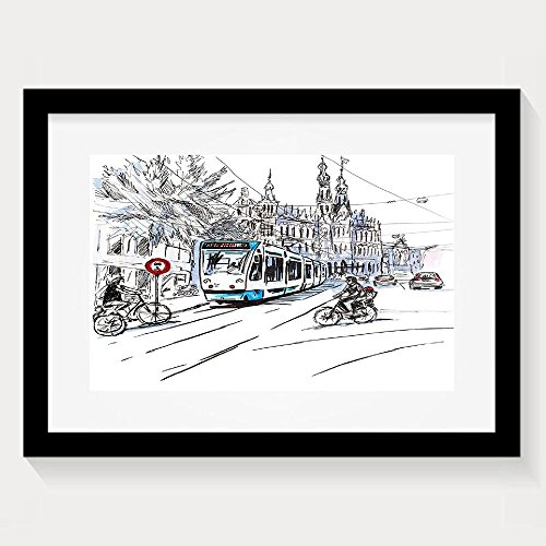 HEI New Sketchy Hand Drawn Tram And Bicyclists Cityscape Of