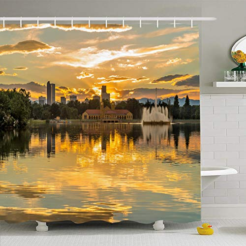 Ahawoso Shower Curtain 72x72 Inches Cityscape Mountains Golden Sunset City Park Summer Denver Skyline Colorado Lake Nature Ferril Design Waterproof Polyester Fabric Set with Hooks