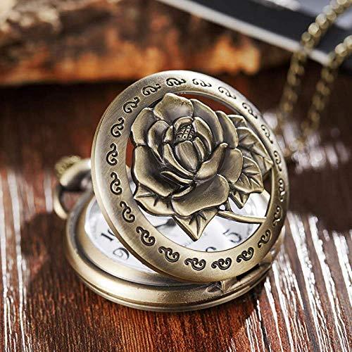 ZJZ Vintage fickur brons 3D blomma ros vintage fickur kedjor ihåliga vintage fickur