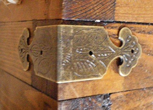 Celtic Woods Set Of 4 Vintage Antique Brass Colour Metal Box Corners Braces Straps Angle (Wood Trim Boxes)