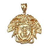 10K Yellow Gold Medusa Unisex Pendant (Medium-1.40'')