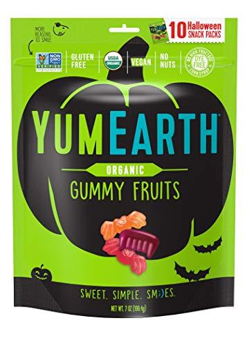 Vegan Halloween Candy (YumEarth Organic Halloween Gummy Fruit Snack Packs, Assorted Flavors, 10)
