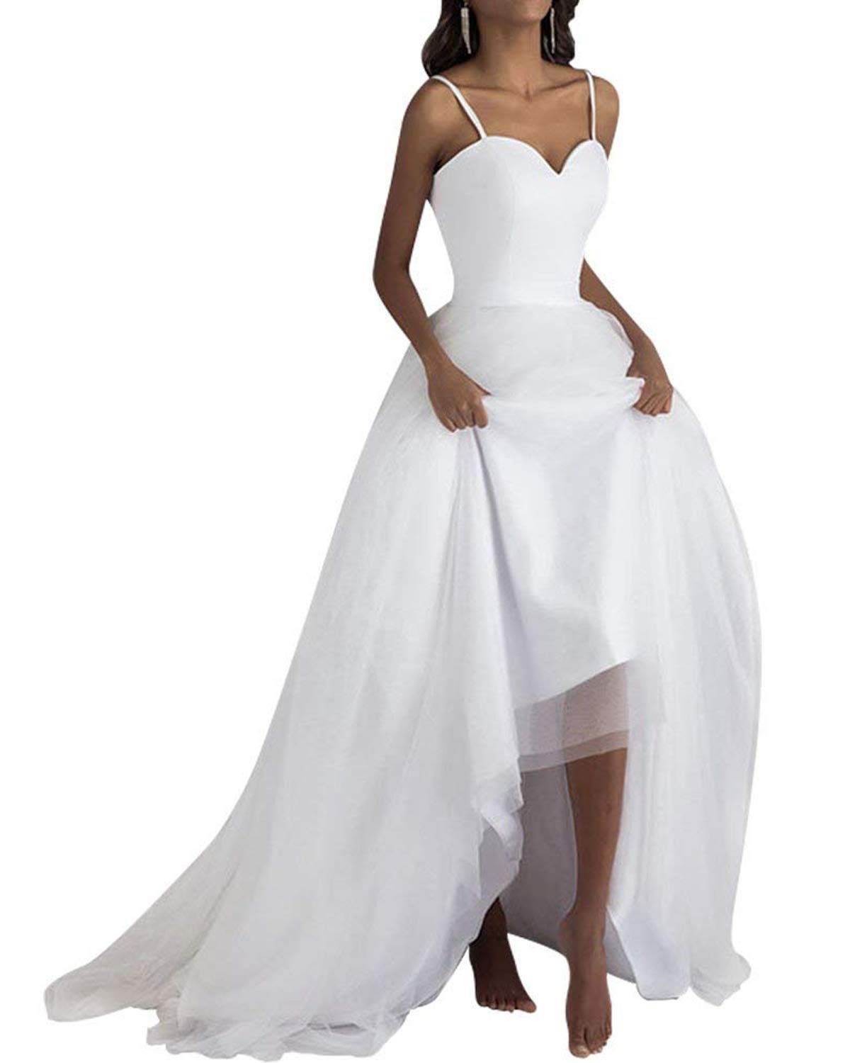 65743ee5b03 Dreagel A-line High Low Wedding Dresses Simple Satin Bridal Dress for Women  Style D Ivory US 14