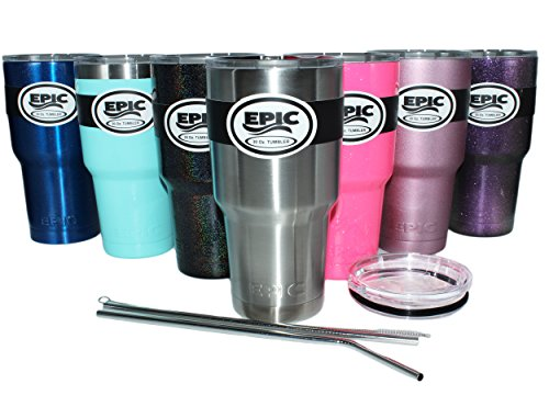 EPIC Stainless Steel Double Wall Insulated 30 oz Thermal Travel Tumbler and Mug includes 2 Lids and 2 Straws with Brush - - Thermal Double Wall Travel Mug