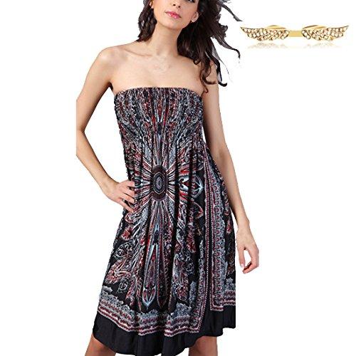 BYD Vestidos de Playa Mujer Impresión Floral sin Tirantes Blusón Bandeau Encorsetado Vestido Tunica Camisolas Playa Color 03