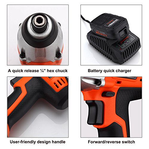 Mr.Orange 1/4 Inch 20V Lithium-Ion Cordless Impact Driver Kit with Quick Charger and Battery Includes Durable Gloves 2 pcs socket driver bits and Soft Tool Bag by Mr.Orange (Image #4)