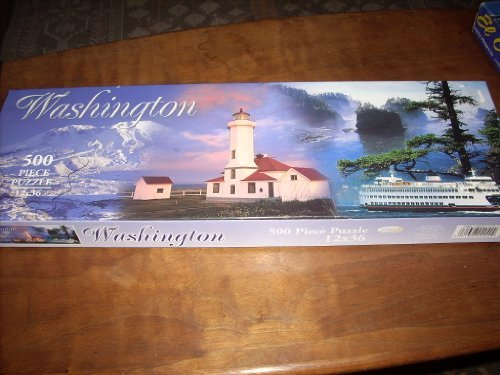 State of WASHINGTON featuring Olympic Mountains, Lighthouse, Ferry and the Sound - 500 Piece Puzzle 12