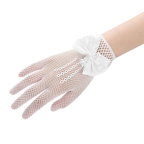 - Flower Girl Gloves Lace Princess Short Gloves with Satin Bows Stretch Mesh Gloves for Wedding Ball Girl Dress Cosplay Party Gloves