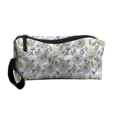 Travel Cosmetic Pouch Watercolor Floral Flowers Lily Rose Mu
