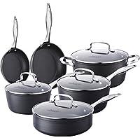 10pièces pot Set de poêles KING boîte Serie, revêtement anti-adhésif Aluminium au lave-vaisselle, Kit de cuisine avec couvercle en verre, Cooks Mark