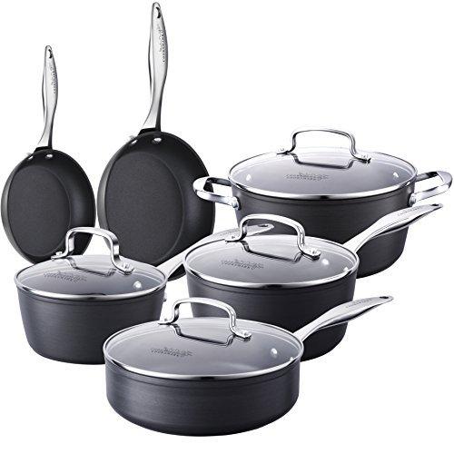 10pièces pot Set de poêles KING boîte Serie, revêtement anti-adhésif Aluminium au lave-vaisselle, Kit de cuisine avec couvercle en verre, Cooks Mark product image