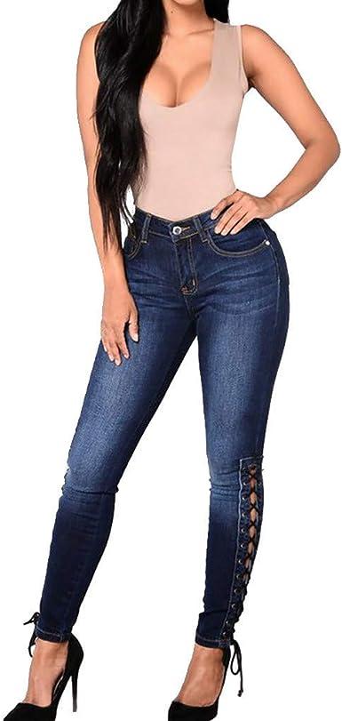 Risthy Vaqueros Mujer Vaqueros Tallas Grandes Vaqueros Altos Ajustados Vendaje Pantalones Tejanos Largos Mujer Anchos Casual Straight Skinny High Waist Leggings Amazon Es Ropa Y Accesorios
