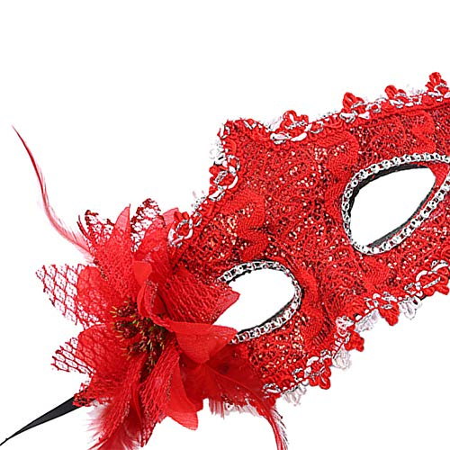 CHLZYD Masks Sexy Women Black Lace Eye Face Mask Masquerade Party Ball Prom Costume Charms (red) by CHLZYD (Image #2)