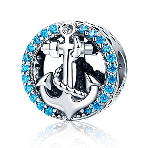 Sterling Silver Anchor Charm - WOSTU Silver Anchor Charms Cubic Zirconia Crystal Beads Charms for Charm Bracelets Womens Charms Jewelry