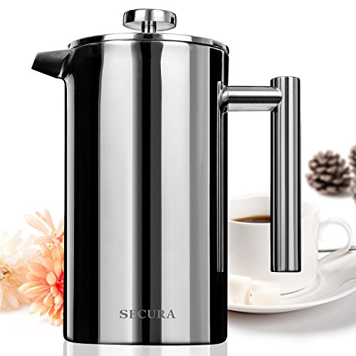 Secura Stainless Steel French Press Coffee Maker 18/10 Bonus Stainless Steel Screen (1000ML) (Metal Coffee Press compare prices)