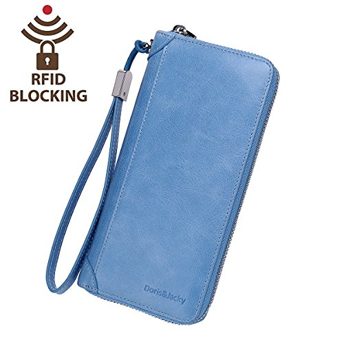 Italian Leather Checkbook Wallet - Women Leather Wallet Rfid Blocking Large Capacity Zipper Around Travel Wristlet Bags (Sky Blue)