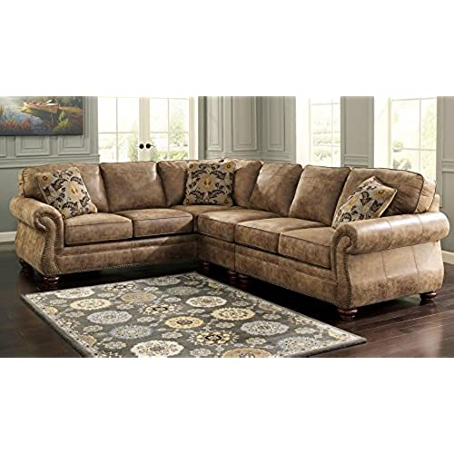 Ashley 31901 56 46 66 Larkinhurst 3 Piece Sectional Sofa With Right Arm  Facing Loveseat Armless Chair And Left Arm Facing Sofa In Earth